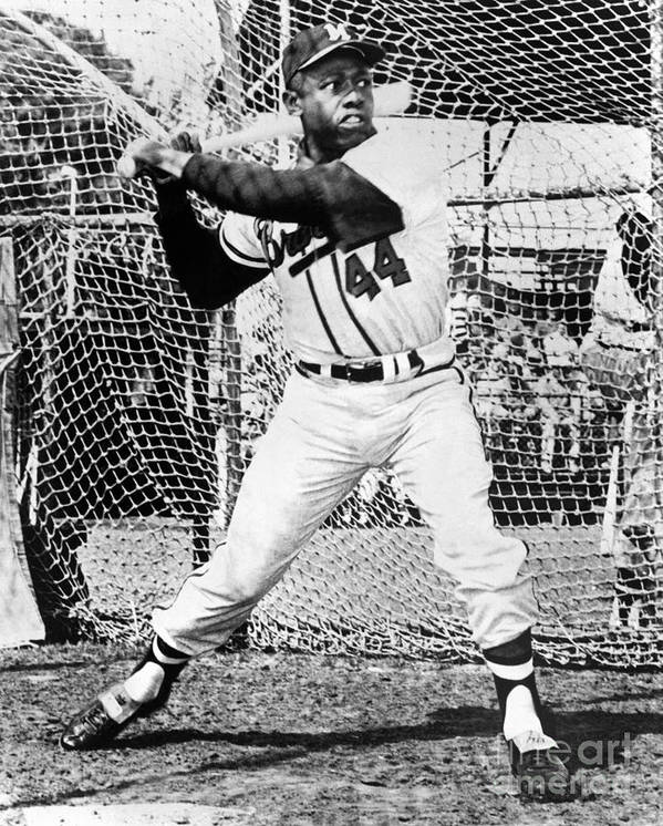 1950-1959 Poster featuring the photograph Hank Aaron by National Baseball Hall Of Fame Library
