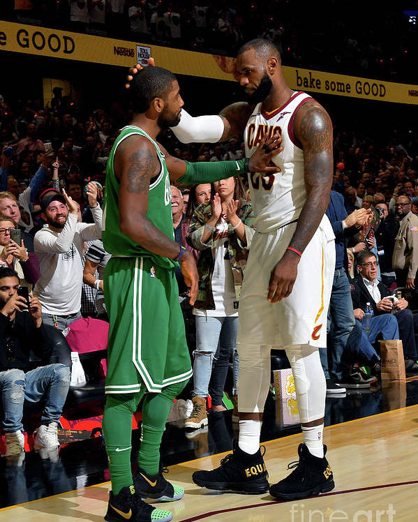 Nba Pro Basketball Poster featuring the photograph Kyrie Irving and Lebron James by Jesse D. Garrabrant