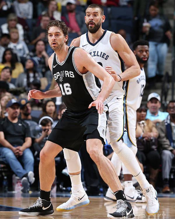 Nba Pro Basketball Poster featuring the photograph Marc Gasol and Pau Gasol by Joe Murphy