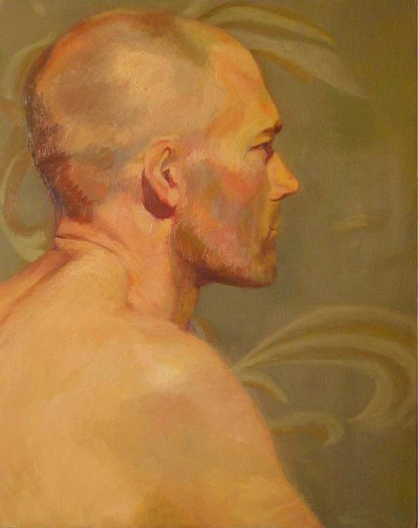 Profile Poster featuring the painting Portrait of a Man by Irena Jablonski
