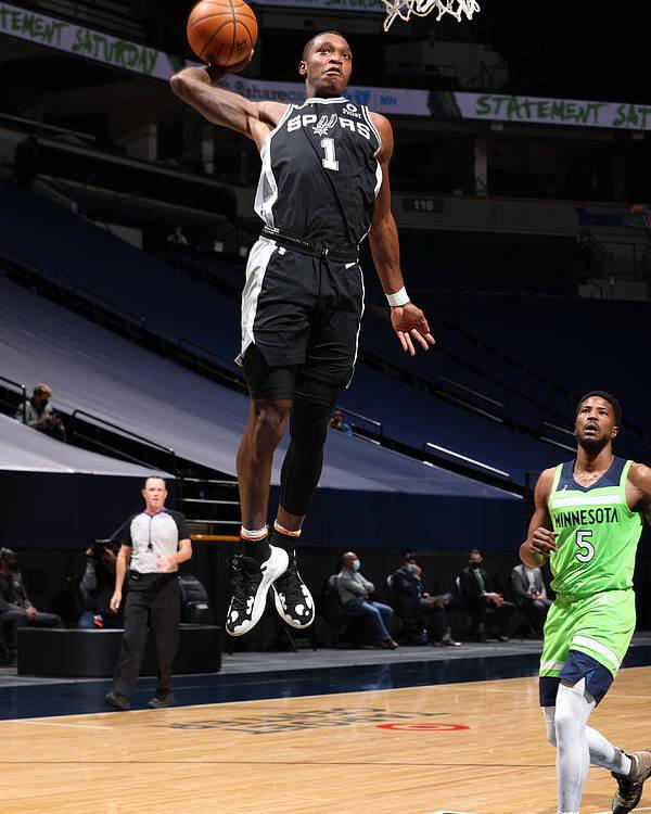 Nba Pro Basketball Poster featuring the photograph San Antonio Spurs v Minnesota Timberwolves by David Sherman