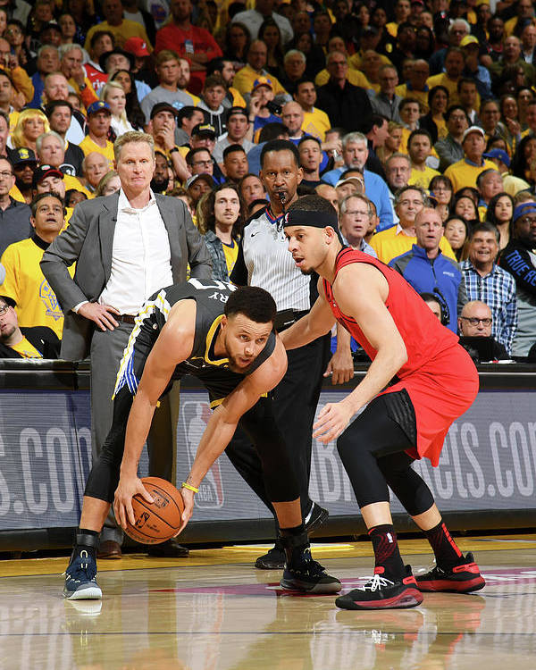 Playoffs Poster featuring the photograph Stephen Curry and Seth Curry by Noah Graham