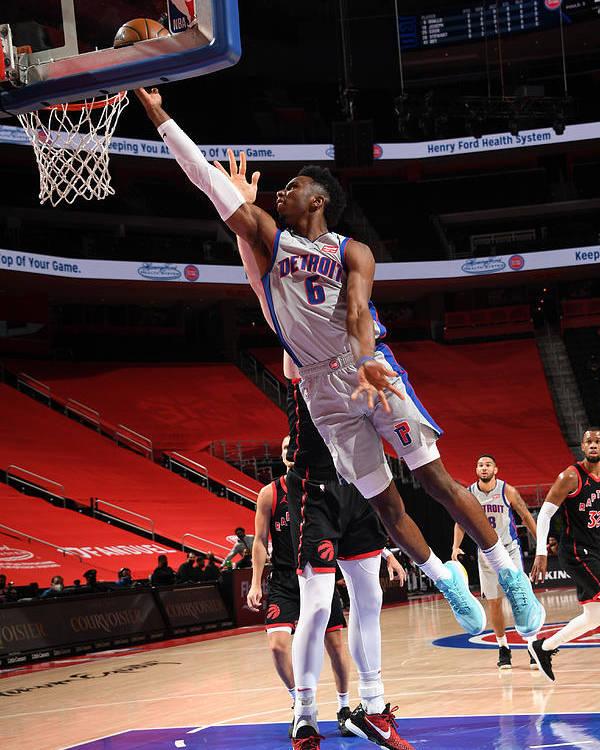 Nba Pro Basketball Poster featuring the photograph Toronto Raptors v Detroit Pistons by Chris Schwegler