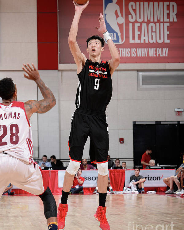 Nba Pro Basketball Poster featuring the photograph Zhou Qi by David Dow