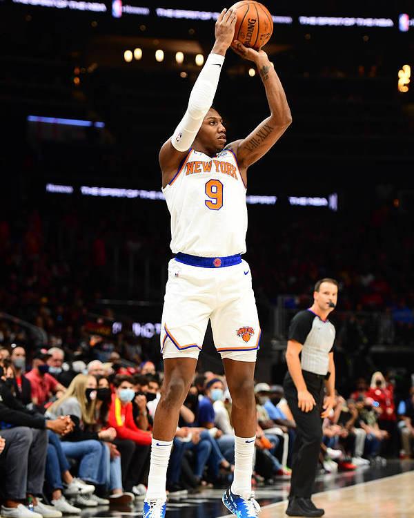 Atlanta Poster featuring the photograph 2021 NBA Playoffs - New York Knicks v Atlanta Hawks by Scott Cunningham