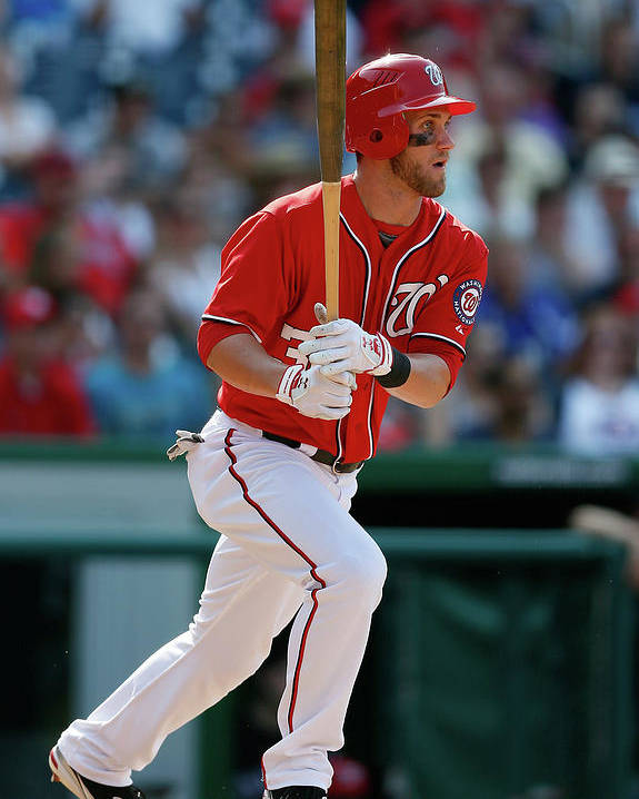 Following Poster featuring the photograph Bryce Harper by Rob Carr