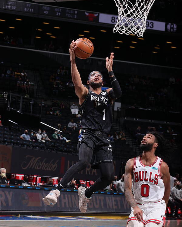 Nba Pro Basketball Poster featuring the photograph Chicago Bulls v Brooklyn Nets by Nathaniel S. Butler