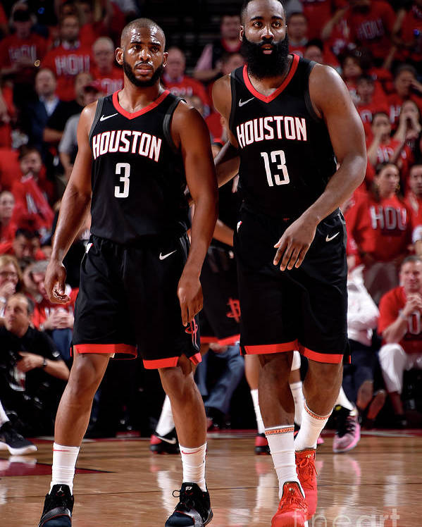 Playoffs Poster featuring the photograph Chris Paul and James Harden by Bill Baptist