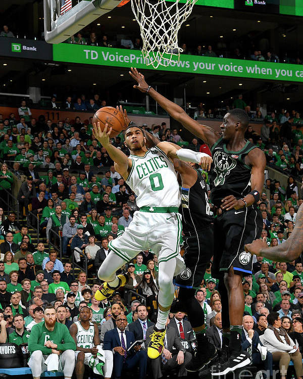 Playoffs Poster featuring the photograph Jayson Tatum by Brian Babineau