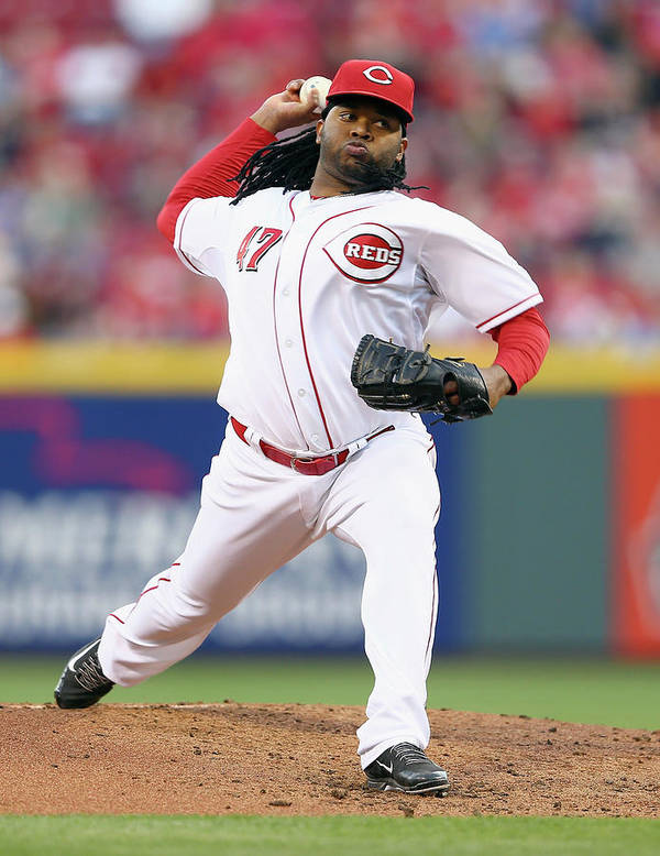 Great American Ball Park Poster featuring the photograph Johnny Cueto by Andy Lyons