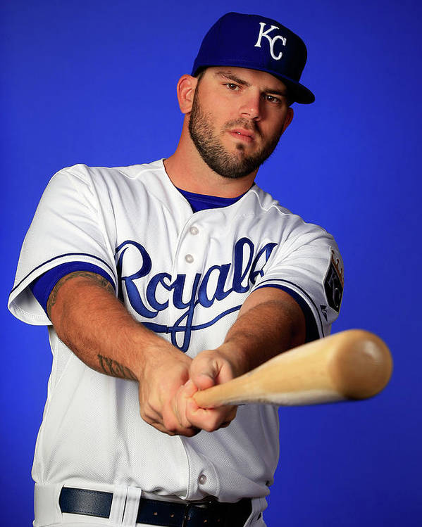 Media Day Poster featuring the photograph Mike Moustakas by Jamie Squire