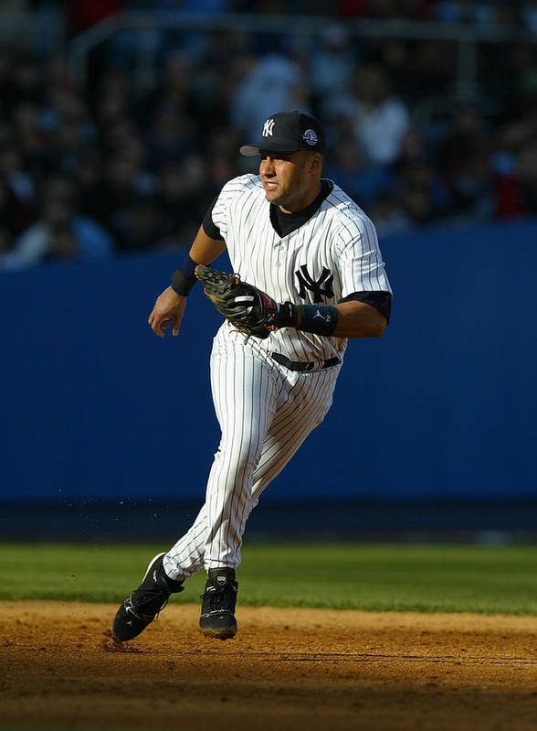 People Poster featuring the photograph Derek Jeter by Al Bello