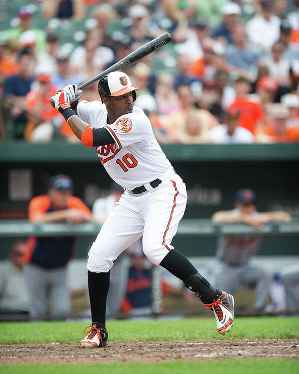 American League Baseball Poster featuring the photograph Adam Jones by Rob Tringali