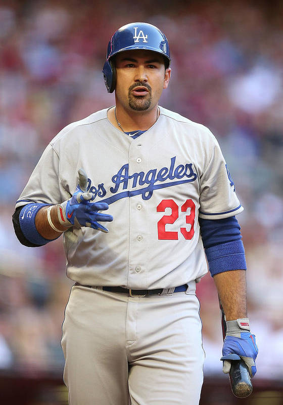 Los Angeles Dodgers Poster featuring the photograph Adrian Gonzalez by Christian Petersen