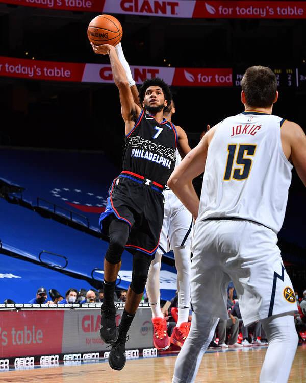 Nba Pro Basketball Poster featuring the photograph Denver Nuggets v Philadelphia 76ers by Jesse D. Garrabrant