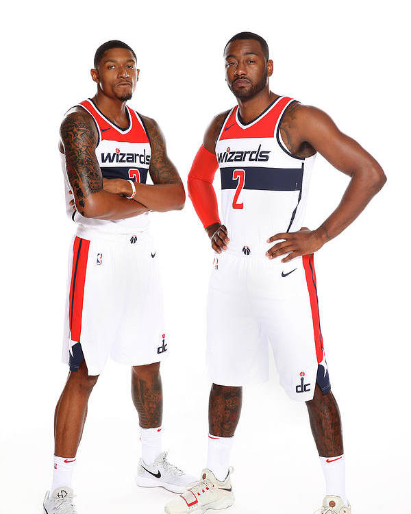 Media Day Poster featuring the photograph John Wall and Bradley Beal by Ned Dishman