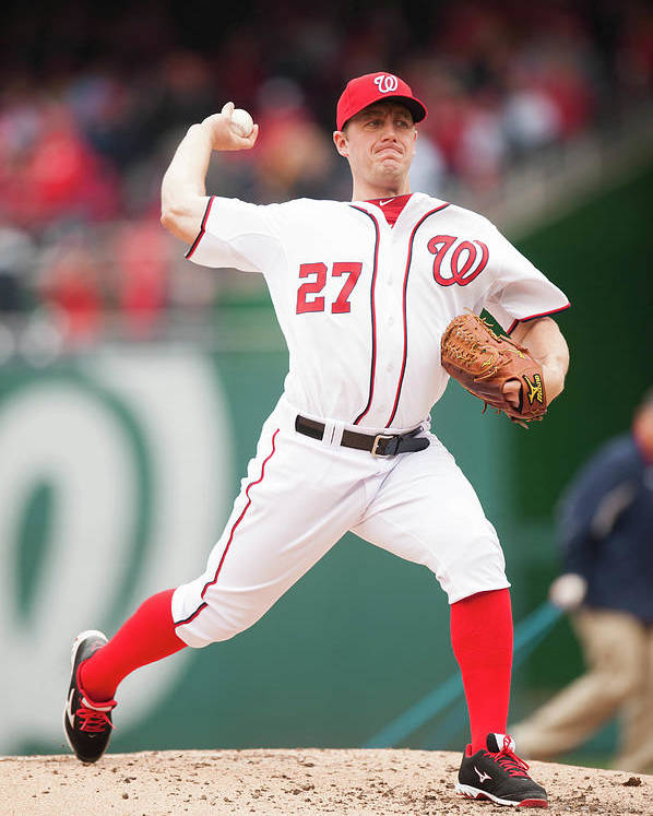 Baseball Pitcher Poster featuring the photograph Jordan Zimmermann by Mitchell Layton