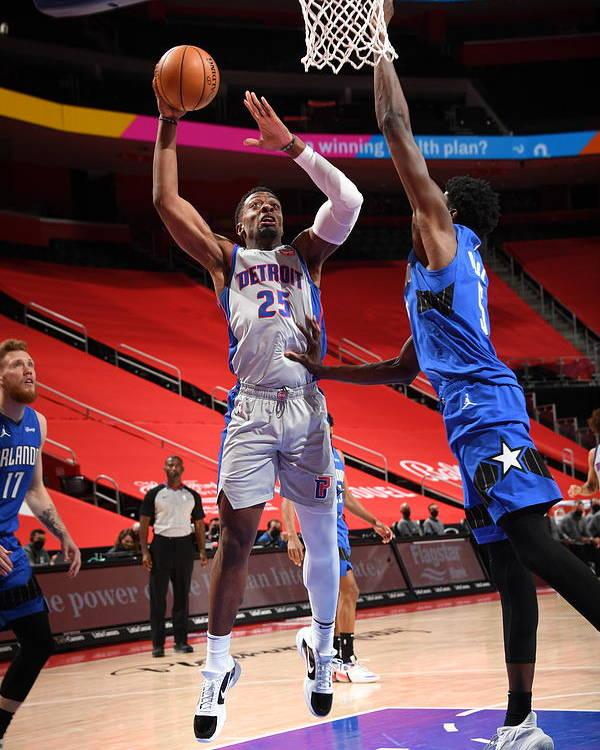 Nba Pro Basketball Poster featuring the photograph Orlando Magic v Detroit Pistons by Chris Schwegler