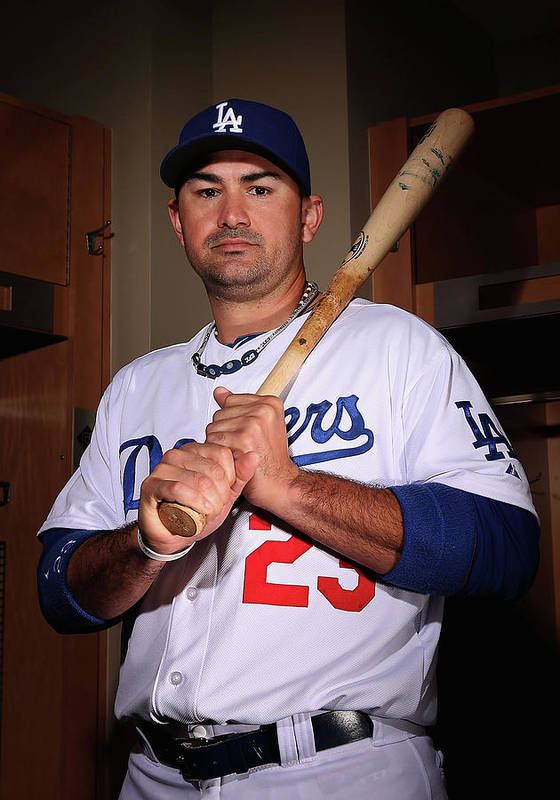 Media Day Poster featuring the photograph Adrian Gonzalez by Christian Petersen