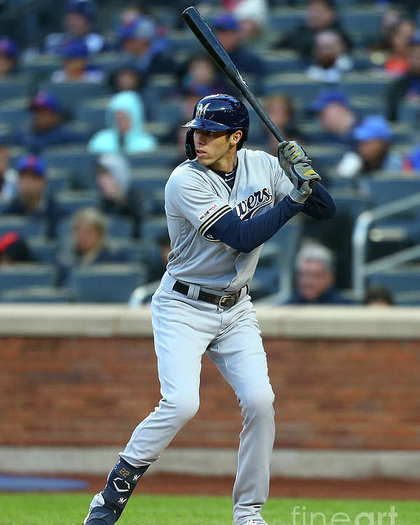 People Poster featuring the photograph Christian Yelich by Mike Stobe