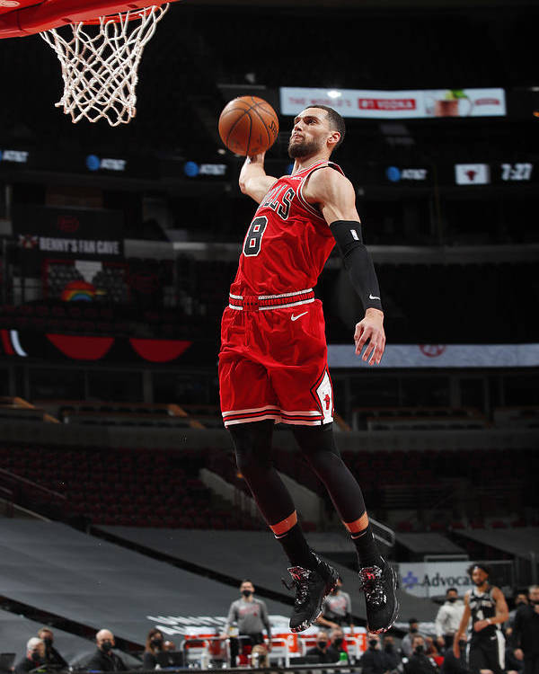 Nba Pro Basketball Poster featuring the photograph Zach Lavine by Jeff Haynes