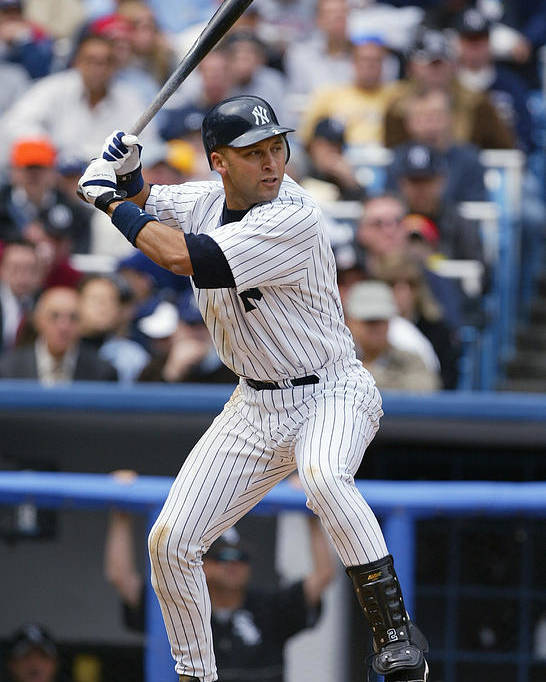 People Poster featuring the photograph Derek Jeter by Ezra Shaw