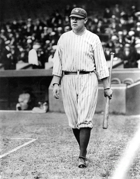Home Base Poster featuring the photograph Babe Ruth by National Baseball Hall Of Fame Library