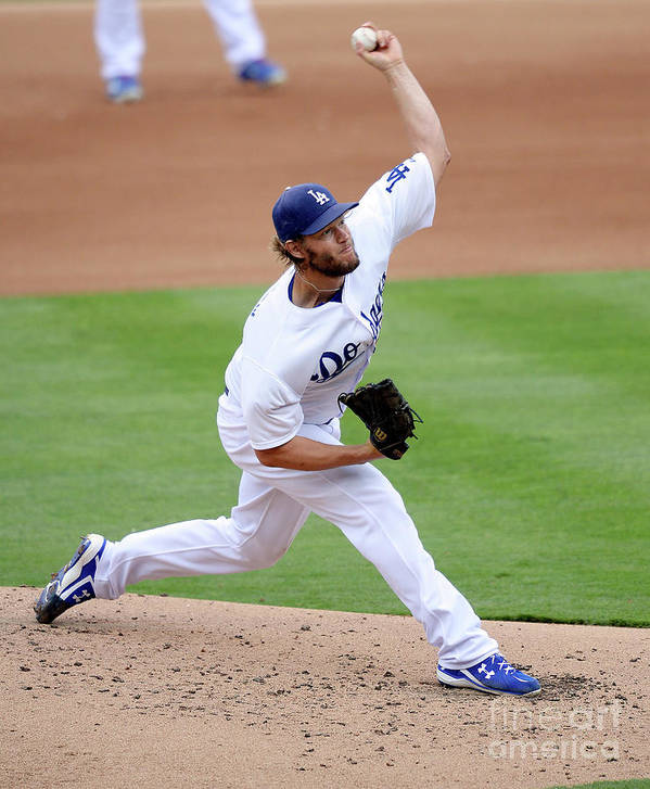 People Poster featuring the photograph Clayton Kershaw by Kevork Djansezian