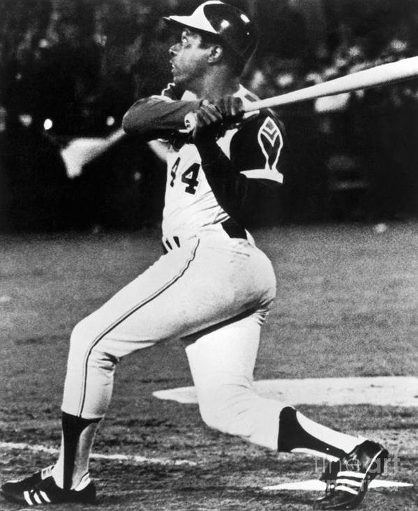 Sports Bat Poster featuring the photograph Hank Aaron by National Baseball Hall Of Fame Library