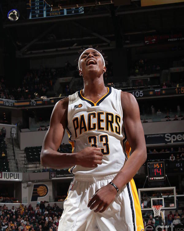 Nba Pro Basketball Poster featuring the photograph Myles Turner by Ron Hoskins