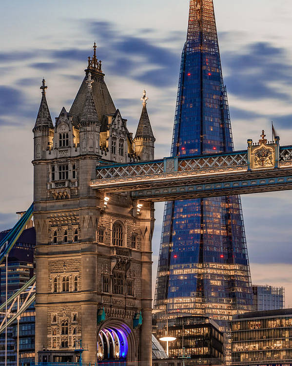 A Juxtaposition Between Tower Bridge And The Shard Poster By George Afostovremea