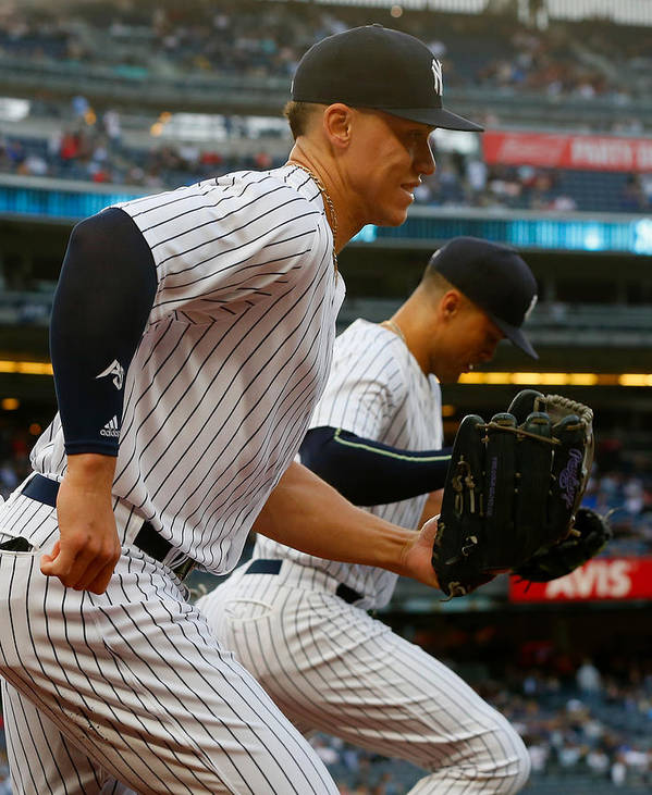 Three Quarter Length Poster featuring the photograph Aaron Judge and Giancarlo Stanton by Jim McIsaac