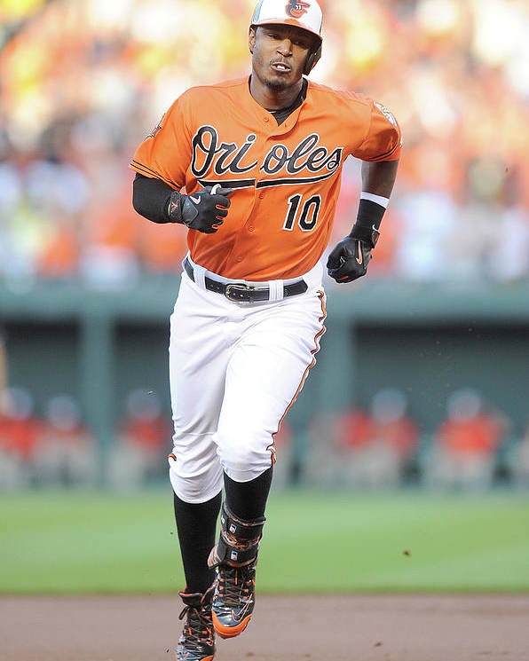 American League Baseball Poster featuring the photograph Adam Jones by Greg Fiume