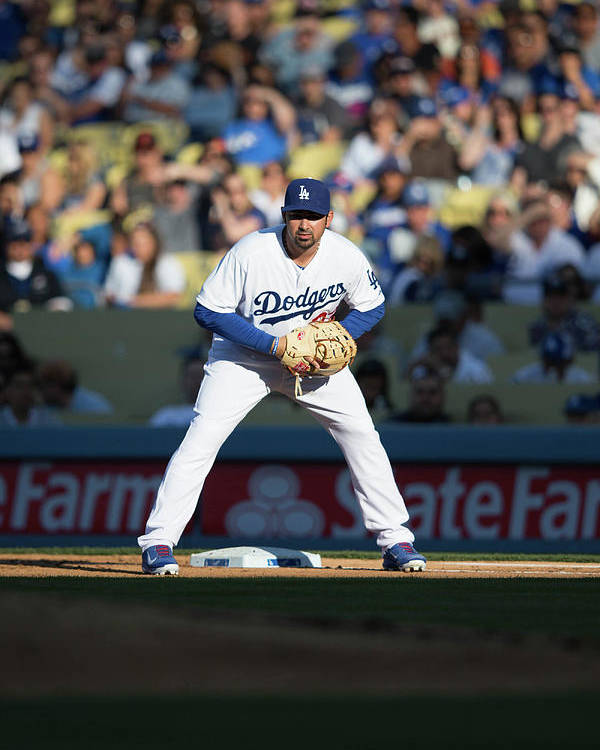 California Poster featuring the photograph Adrian Gonzalez by Paul Spinelli