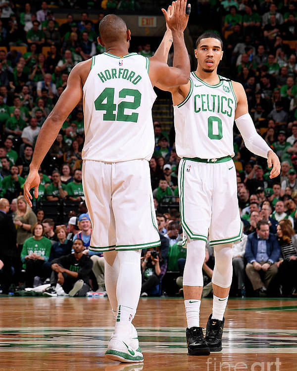 Playoffs Poster featuring the photograph Al Horford and Jayson Tatum by Brian Babineau