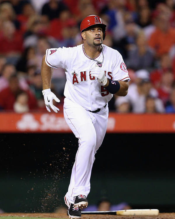 American League Baseball Poster featuring the photograph Albert Pujols by Jeff Gross