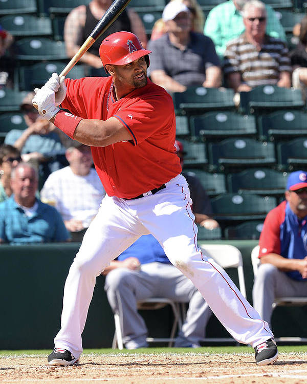 Tempe Diablo Stadium Poster featuring the photograph Albert Pujols by Norm Hall