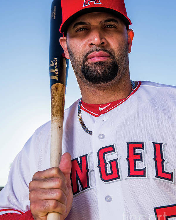 Media Day Poster featuring the photograph Albert Pujols by Rob Tringali