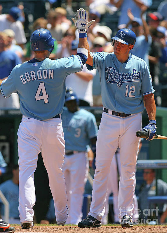American League Baseball Poster featuring the photograph Alex Gordon and Mitch Maier by Tim Umphrey
