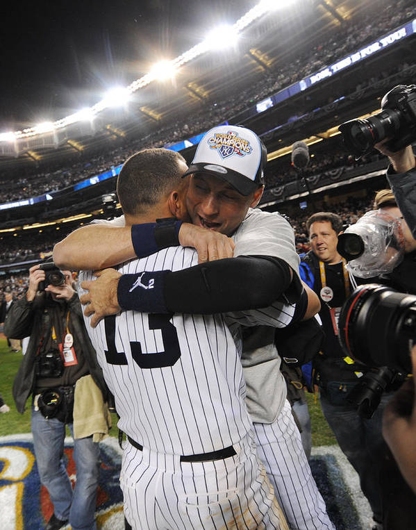 American League Baseball Poster featuring the photograph Alex Rodriguez and Derek Jeter by New York Daily News Archive