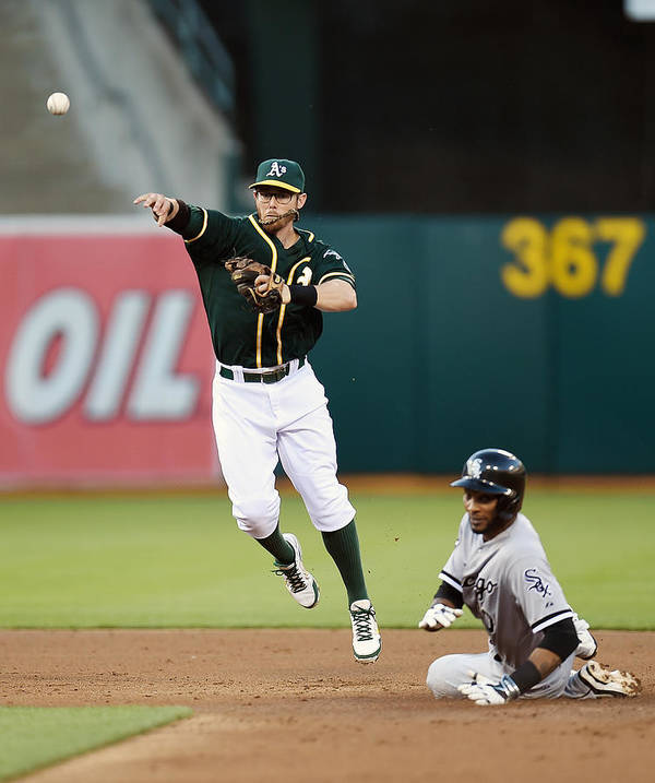 Double Play Poster featuring the photograph Alexei Ramirez and Eric Sogard by Thearon W. Henderson