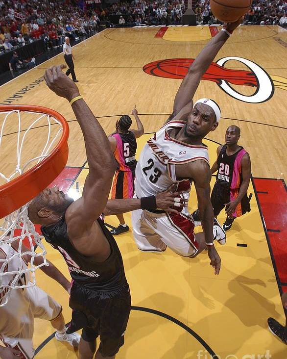 Nba Pro Basketball Poster featuring the photograph Alonzo Mourning and Lebron James by Andrew D. Bernstein