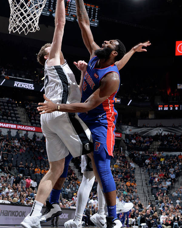 Nba Pro Basketball Poster featuring the photograph Andre Drummond and Jakob Poeltl by Mark Sobhani