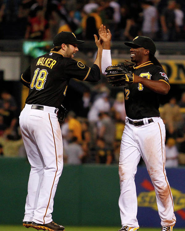 Professional Sport Poster featuring the photograph Andrew Mccutchen And Neil Walker by Justin K. Aller