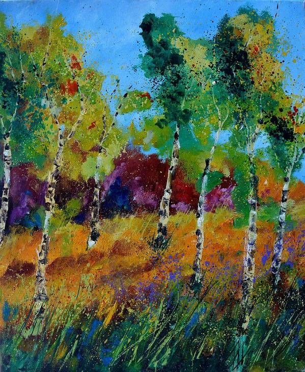 Landscape Poster featuring the painting Aspen trees in autumn by Pol Ledent