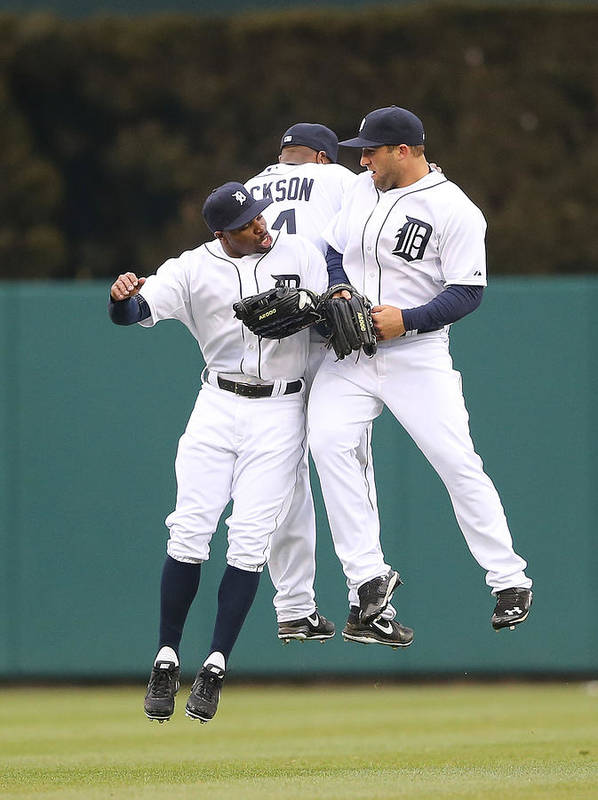 American League Baseball Poster featuring the photograph Austin Jackson, Rajai Davis, and Tyler Collins by Leon Halip