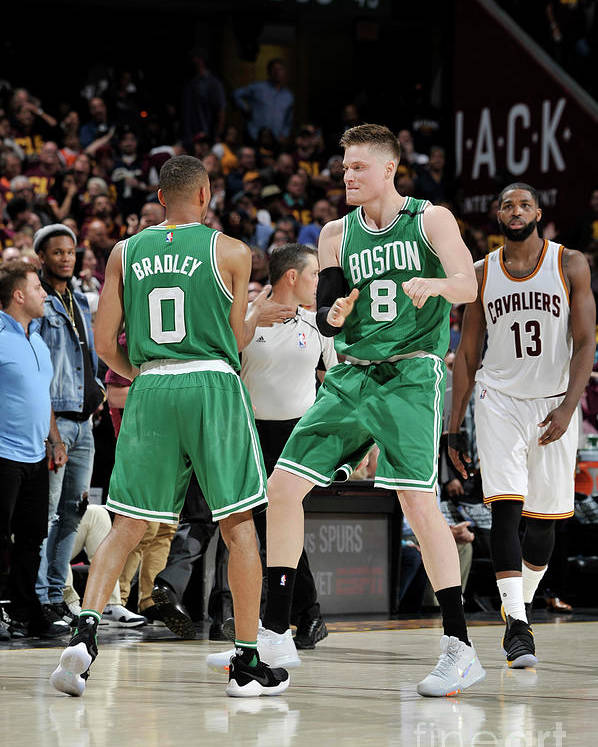 Playoffs Poster featuring the photograph Avery Bradley and Jonas Jerebko by David Liam Kyle