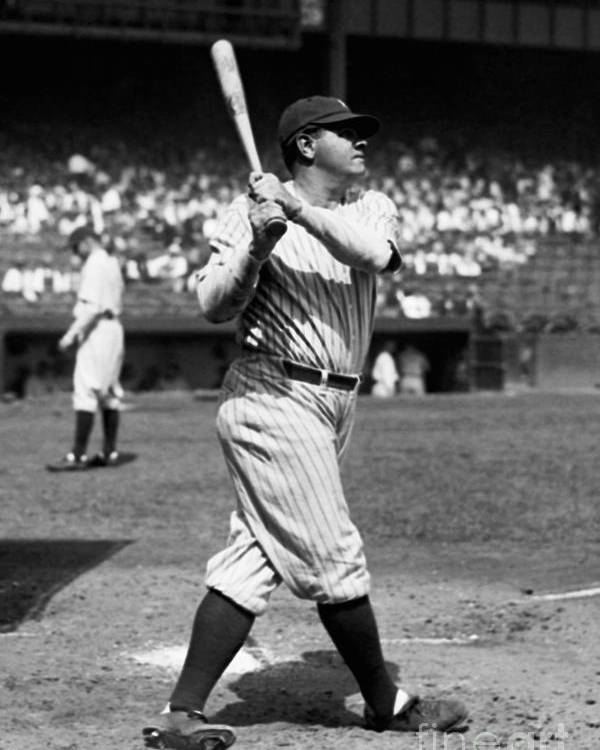 American League Baseball Poster featuring the photograph Babe Ruth by Kidwiler Collection