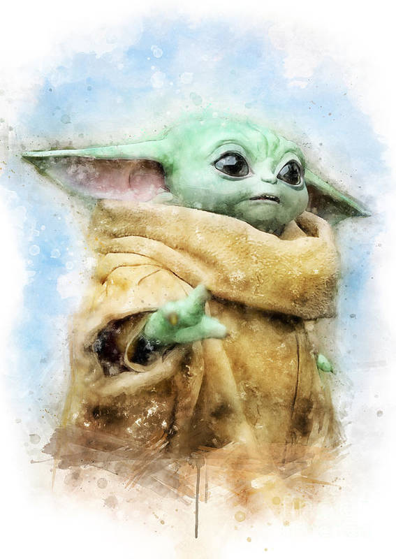 Star Wars Poster featuring the painting Baby Yoda / The Child / Grogu watercolor by Waldek Dabrowski