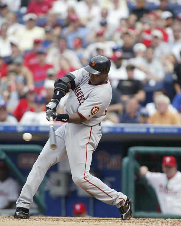 Motion Poster featuring the photograph Barry Bonds by Rob Leiter